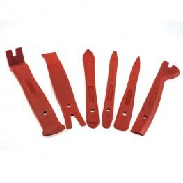 Satz Montagehebel (6-teilig / rot) zum beschädigungsfreien Ausbau von Verkleidungen, Zierleisten, Clipsen etc