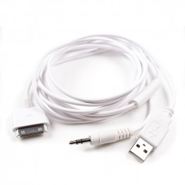 iPod/iPhone 30pin Dock Kabel auf 3,5mm Klinke-Stecker + USB