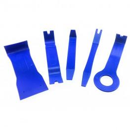 Satz universal Montagehebel (5-teilig / Blau) zum beschädigungsfreien Ausbau von Verkleidungen, Zierleisten, Clipsen etc