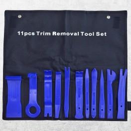 Satz Montagehebel mit Tasche (11-teilig / Blau) zum beschädigungsfreien Ausbau von Verkleidungen, Zierleisten, Clipsen etc