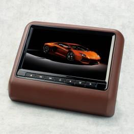 Moniteur appuie-tête 22,9 cm / 9 pouces avec DVD, USB, SD (marron)