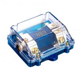 Portafusibles ANL 1x 25-50mm² Entrada> 2x 10-25mm² Salida con voltímetro + LED de estado, chapado en oro