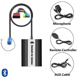 Bluetooth Adaptador con mando a distancia por cable + USB + AUX 8Pin VW