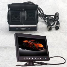 color dual Cámara marcha atrás (Negro) + monitor LCD 17,8cm / 7 pulgadas para furgonetas