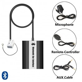 Bluetooth Adaptador con mando a distancia por cable + USB + AUX VW 12 Pin